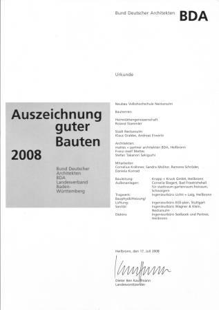 Volkshochschule Neckarsulm Auszeichnung guter Bauten